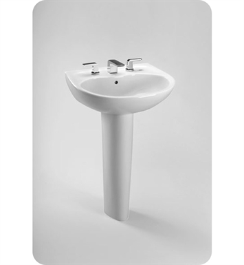 "TOTO LPT241G.4#01 Supreme® Pedestal Lavatory - with SanaGloss® With Finish: Cotton And Faucet Holes: Three Hole for 4"" Faucet Centers"