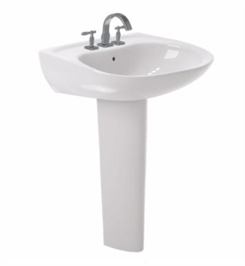 "TOTO LPT242G#12 Prominence 26"" Vitreous China U-Shaped Pedestal Lavatory Sink With Finish: Sedona Beige And Faucet Holes: Single Hole And CeFiONtect: With CeFiONtect Ceramic Glaze"