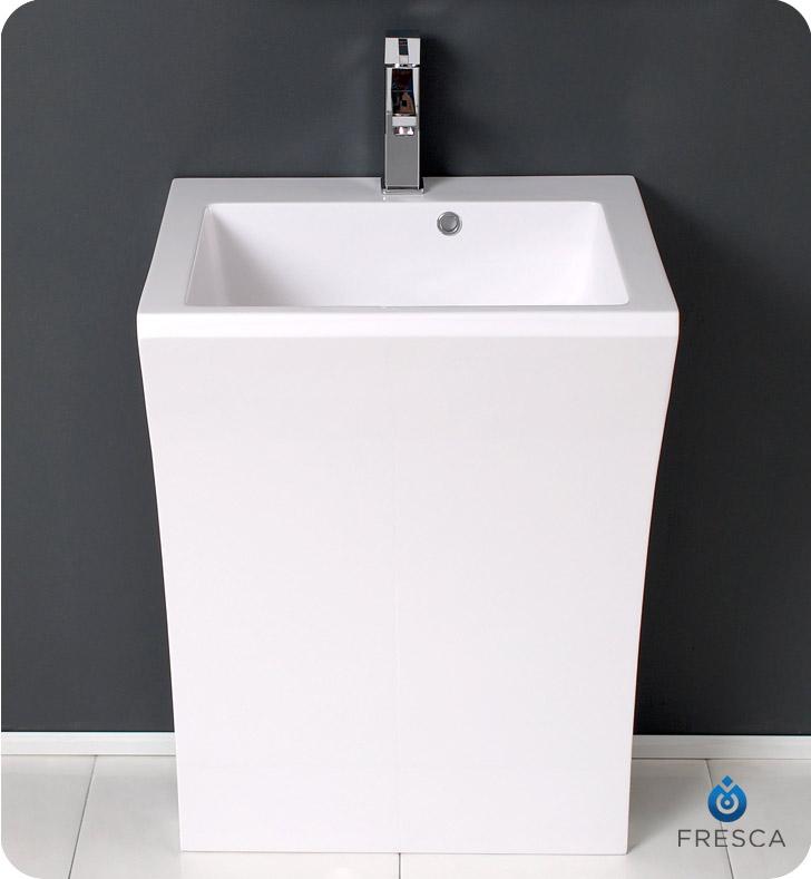 Pedestal Cabinet Sink : Fresca FVN5024WH Quadro 23