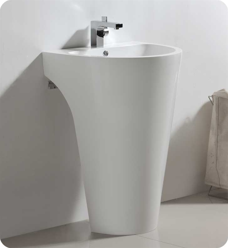 Fresca Fvn5023wh Parma 24 White Pedestal Sink With