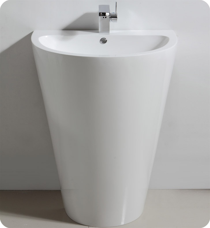Bathroom Sink Mirror : FVN5023WH Fresca Parma White Pedestal Sink with Medicine Cabinet