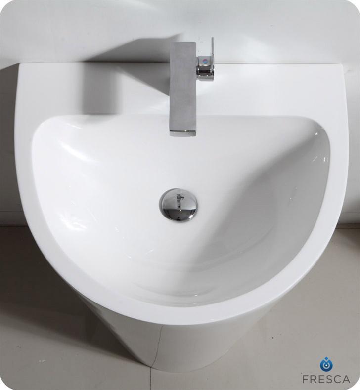 Fvn5023wh Fresca Parma White Pedestal Sink With Medicine Cabinet
