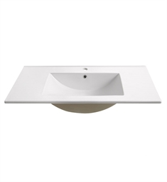 "Fresca FVS6230WH Torino 30"" White Integrated Sink with Countertop"