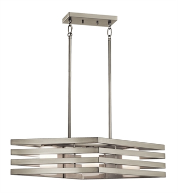 Kichler 43686NI Linear Chandelier 3 Light in Brushed Nickel