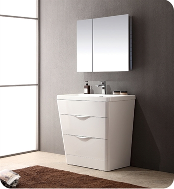 "Fresca FVN8532WH Milano 32"" Modern Bathroom Vanity in a Glossy White Finish with Medicine Cabinet and Faucet"