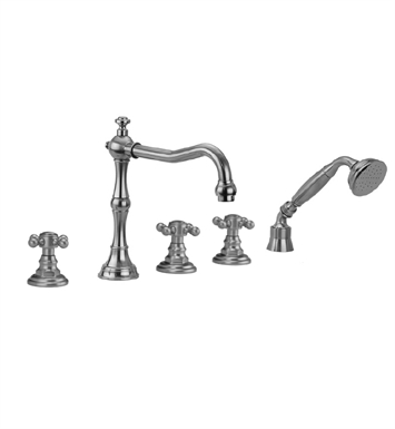 Jaclo 9930-T678-A-240-TRIM-PB Roaring 20's Roman Tub Faucet with Angle Handshower & Traditional Cross Handles With Finish: Polished Brass