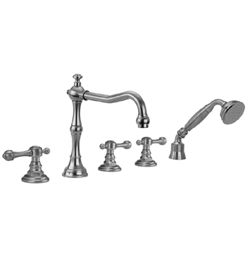 Jaclo 9930-T692-A-240-TRIM-SN Roaring 20's Roman Tub Faucet with Angle Handshower & Finial Lever Handles With Finish: Satin Nickel
