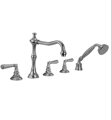 Jaclo 9930-T675-A-240-TRIM-SN Roaring 20's Roman Tub Faucet with Angle Handshower & Hex Lever Handles With Finish: Satin Nickel