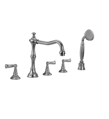 Jaclo 9930-T667-S-240-TRIM-TB Roaring 20's Roman Tub Faucet with Straight Handshower & Ribbon Lever Handles With Finish: Tristan Brass