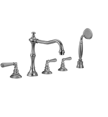 Jaclo 9930-T675-S-240-TRIM-JG Roaring 20's Roman Tub Faucet with Straight Handshower & Hex Lever Handles With Finish: Jewelers Gold
