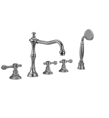 Jaclo 9930-T692-S-240-TRIM-TB Roaring 20's Roman Tub Faucet with Straight Handshower & Finial Lever Handles With Finish: Tristan Brass