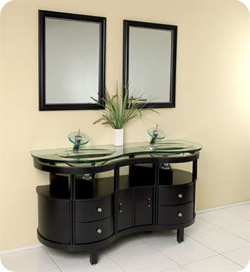 "Fresca FVN3331ES Unico 63"" Espresso Modern Bathroom Vanity with Mirrors"