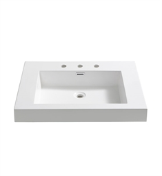 "Fresca FVS8070WH Potenza 28"" White Integrated Sink with Countertop"