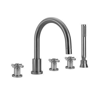 Jaclo 9980-C-S-456-TRIM-PCH Contempo Roman Tub Faucet with Straight Handshower & Cross Handles With Finish: Polished Chrome