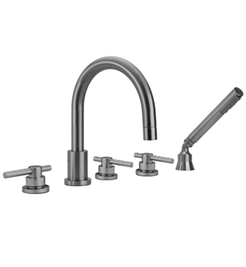 Jaclo 9980-T638-A-456-TRIM-PEW Contempo Roman Tub Faucet with Angle Handshower & Peg Handles With Finish: Pewter