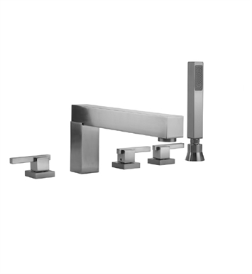 Jaclo 4404-S-470-TRIM-SB Cubix Roman Tub Faucet with Straight Handshower & Lever Handles With Finish: Satin Brass