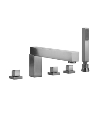 Jaclo 5404-S-470-TRIM-SN Cubix Roman Tub Faucet with Straight Handshower & Square Handles With Finish: Satin Nickel