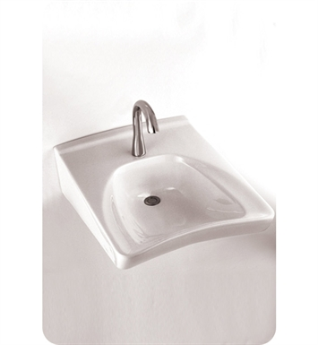 "TOTO LT308A.4#01 Commercial Wall Mount Wheelchair User's Lavatory with Soap Dispenser ADA With Finish: Cotton And Faucet Holes: Three Hole for 4"" Faucet Centers"