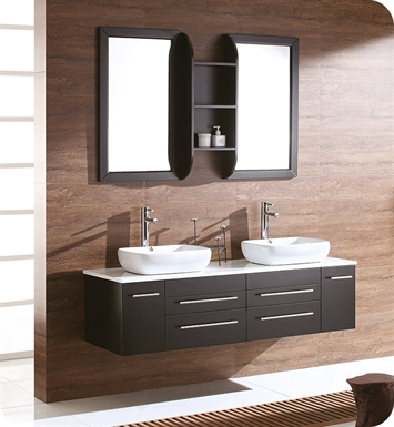 "Fresca FVN6119ES Bellezza 59"" Espresso Modern Double Vessel Sink Bathroom Vanity"
