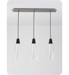 Ayre NAKPL3F-P-CL Naked Linear Three Light Pendant with Flat Canopy