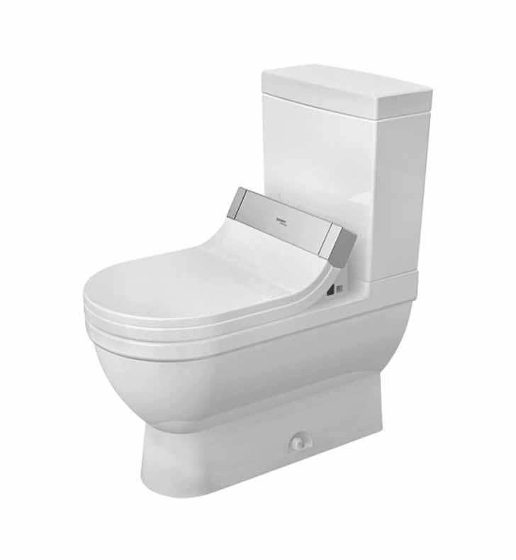 Duravit 2125510000 Starck Elongated Two Piece Toilet Bowl In White Finish