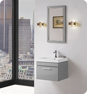 "Fairmont Designs 179-WV21 Metropolitan 21"" Wall Mount Vanity and Sink Set in Glossy Light Gray"