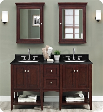 "Fairmont Designs 1513-VH24_DB12-H_VH24 Shaker Americana 60"" Open Shelf Modular Vanity in Habana Cherry"