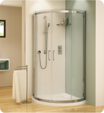 Fleurco STA40-11-40 Banyo Shuttle Arc 40 Semi Frameless Curved Sliding Doors With Hardware Finish: Bright Chrome And Glass Type: Clear Glass