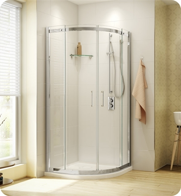 Fleurco STR40-25-40 Banyo Shuttle Round 40 Semi Frameless Curved Sliding Doors With Hardware Finish: Brushed Nickel And Glass Type: Clear Glass