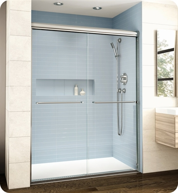 "Fleurco EL161-11-40  Banyo Cordoba Bypass Plus 61"" Semi Frameless Sliding Shower Doors With Hardware Finish: Bright Chrome And Glass Type: Clear Glass"