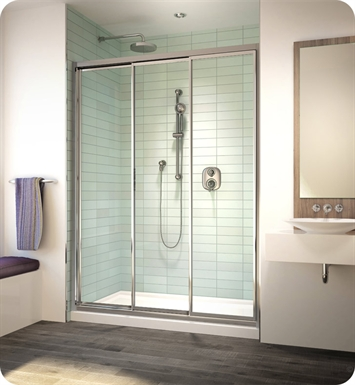 Fleurco EG42-11-40 Banyo Lombardi 3 Triple Bypass Sliding Shower Doors With Hardware Finish: Bright Chrome And Glass Type: Clear Glass