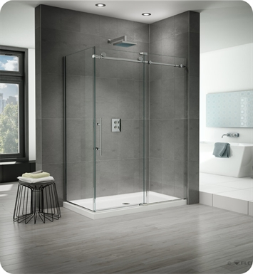 Fleurco K2P45 Kinetik 2-Sided In-Line 48 Shower Door and Fixed Panel with Return Panel (Closes against Return Panel)