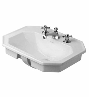 Duravit 04765800 1930 Series Vanity Porcelain Bathroom Sink with Overflow and Tap Platform