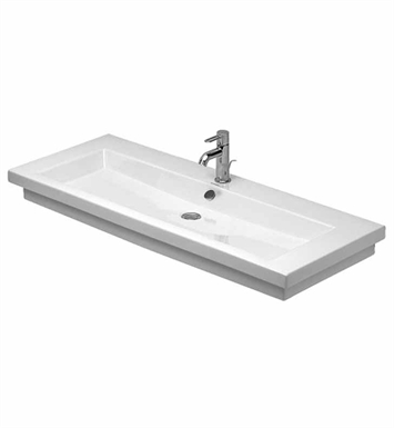 Duravit 04911200001 2nd Floor Drop In Porcelain Bathroom Sink with Overflow, Tap Platform and Chrome Overflow Clip With Faucet Holes: Single Hole
