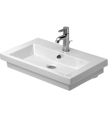 Duravit 04917000001 2nd Floor Drop In-Self Rimming Porcelain Bathroom Sink With Faucet Holes: Single Hole
