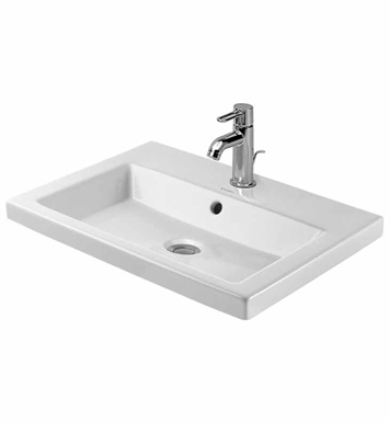 Duravit 03476000001 2nd Floor Drop In Porcelain Bathroom Sink With Faucet Holes: Single Hole