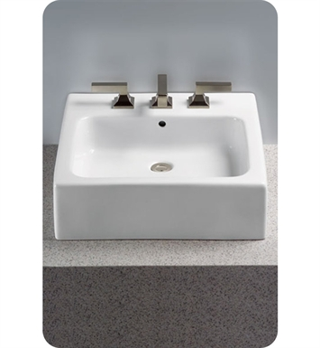 "TOTO LT645G.4#01 Vessel Lavatory with SanaGloss® With Finish: Cotton And Faucet Holes: Three Hole for 4"" Faucet Centers"