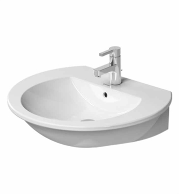 "Duravit 2621600030 Darling New Wall Mount W 23 5/8"" x D 20 5/8""  Porcelain Bathroom Sink With Faucet Holes: Three Hole"