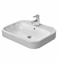 Duravit Happy D 25 5/8 inch Wall Mounted-Pedestal Porcelain Bathroom Sink