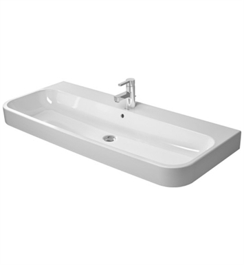 Duravit 2318120060 Happy D 47 1/4 inch Console Porcelain Bathroom Sink With Faucet Holes: No Hole