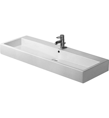 Duravit 04541200001 Vero Above Counter Porcelain Bathroom Sink With Faucet Holes: Single Hole