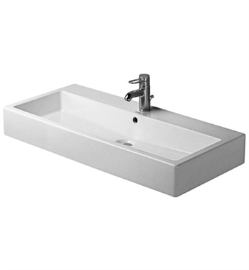 Duravit 04541000001 Vero 39 3/8 inch Wall Mounted Porcelain Bathroom Sink With Faucet Holes: Single Hole