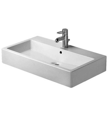 Duravit 04548000301 Vero 31 1/2 inch Wall Mounted Porcelain Bathroom Sink With Faucet Holes: Three Hole