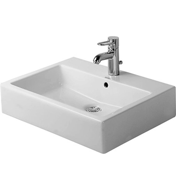Duravit 04546000001 Vero 23 5/8 inch Wall Mounted Porcelain Bathroom Sink With Faucet Holes: Single Hole