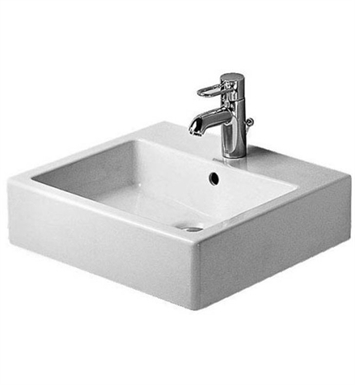 Duravit 04545000601 Vero 19 5/8 inch Wall Mounted Porcelain Bathroom Sink With Faucet Holes: No Hole