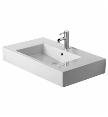 Duravit 03298500001 Vero 33 1/2 inch Vessel Porcelain Bathroom Sink With Faucet Holes: Single Hole