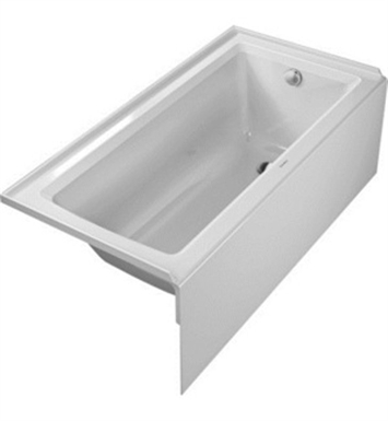 Duravit 700355000000090 Architec Rectangular Bathtub with Right Hand Drain, Integrated Panel and Flange