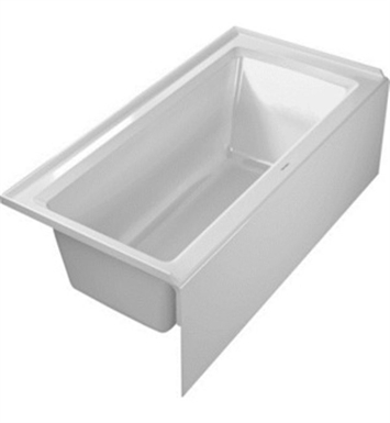 Duravit 700356000000090 Architec Rectangular Bathtub with Left Hand Drain, Integrated Panel and Flange