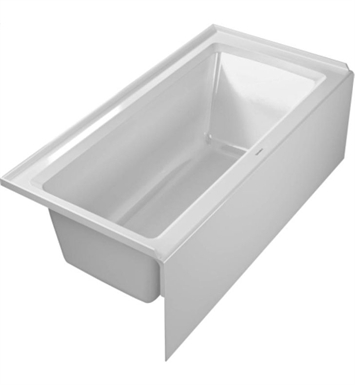 "Duravit 700356000000091 Architec Rectangular Bathtub with Left Hand Drain, 20 3/8"" Integrated Panel and Flange"