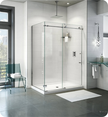 "Fleurco K2W5748-35-40L Kinetik 2-Sided In-Line 60 Shower Door and Fixed Panel with Return Panel (Closes Against Wall) With Return Panel: 48"" Return Panel And Hardware Finish: Brushed Stainless And Glass Type: Clear Glass And Door Direction: Left"